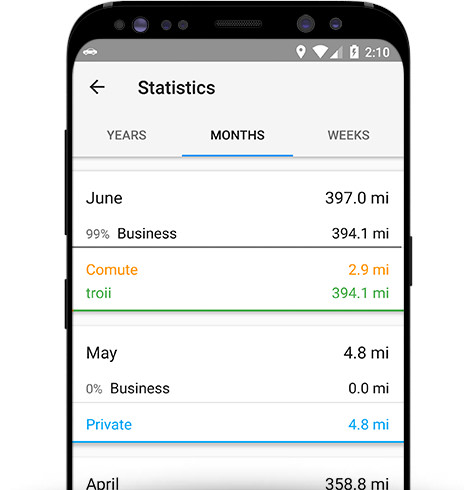 Mileage log App Android